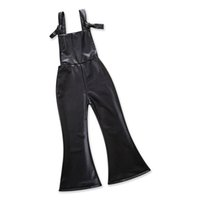 Wholesale leather playsuit - Baby Girls Kids Leather Boot Cut Pants Bottoms Trousers Playsuit Jumpsuit Autumn Scrub Fur PU Overalls Clothes