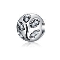 Wholesale sterling leaf - 2017 Fit Sterling Silver Bracelet Crystal Leaf Charms Beads European Stopper Clip Lock Charm Fits Pandora Bracelet Jewelry Findings Xmas