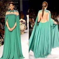 dubai tasarımcıları toptan satış-Tasarımcı Arap Yüksek Boyun Abiye Dantel Aplike Boncuklu Uzun Backless Balo Abiye Sweep Tren Tam Kollu Yeşil Dubai Parti Elbise