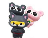 kawaii squishy panda großhandel-Squishy Ninja Panda Fox Pink Grey das Simulationstier PU Langsamer Rückprall Jumbo kawaii Anhänger Staps Charm Dekompression Squishies Spielzeug
