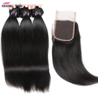 Wholesale hair weave weft sale online - 10A Mink Brazilian Straight Human Hair Bundles with Lace Closure Unprocessed Peruvian Indian Virgin Hair Hot Sale Malaysian Weave Bundles