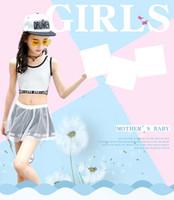 moda mayo etek toptan satış-Çocuk mayo bölünmüş moda etek mayo çocuk Kore versiyonu düz renk iplik iplik etek kız mayo