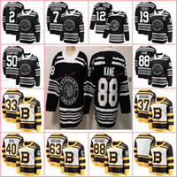 bruins winter jersey großhandel-Winter-Klassiker Boston Bruins 2019 Pastrnak Rask Bergeron Chara Marchand Chicago Blackhawks Jonathan Toews Patrick Kane Keith Crawford Trikot
