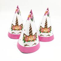 ingrosso cappelli rosa della neonata-6pcs / lot nuovo stile rosa unicorno partito cappelli decorazione della ragazza unicorno della ragazza baby shower fornisce cappelli tema