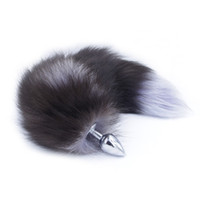 Wholesale sex fox tail for sale - Group buy Real Fox Tail Anal Plug Adult Games Metal Anus Pleasure Bead Butt Plug Stimulator Fetish Sex Products Flirt Toys For Women