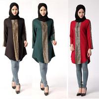 ingrosso ginocchia di abito rosso cinese-Camicetta casual allentata donna musulmana Ramadan Special Arab Camicetta maniche lunghe donna girocollo Plus Size Camicie donna araba Ramadan DK730MZ
