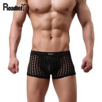 Wholesale U S Yellow - Men's Sexy Transparent U Convex Pouch Underwear Boxers Male Fishnet Nylon High Quality Boxer Shorts Men Net Underwear Panties