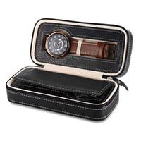 Wholesale Wrist Watch Antique - Professiona 2 Grids Watch Boxe PU leather Wrist Watch Box Display Jewelry Storage Organizer Travel Watch Case Caixa Para Relogio