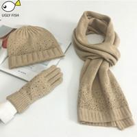 lenços de lã de lã venda por atacado-cachecol chapéu cachecol conjunto cachecol, chapéu luva conjuntos de malha de inverno e cachecol mulher com diamante
