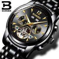 hombres mecánicos de binger relojes al por mayor-Suiza BINGER relojes hombres completos Calendario zafiro múltiples funciones Resistente al agua Relojes mecánicos B8608M4