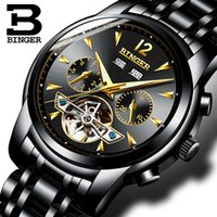 Wholesale binger men mechanical watches for sale - Group buy Switzerland BINGER watches men full Calendar sapphire multiple functions Water Resist Mechanical Wristwatches B8608M4