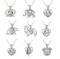 Wholesale White Wishing Trees - 2018 Love Wish Pearl Cages Locket Necklace Hollow Out Animal Oyster Freshwater Pearl Elephant Life Tree Heart DIY Mother's Day Jewellery