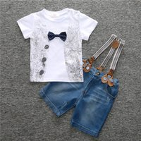 Wholesale braces suit - Boys T-shirt Braces 2-8T Shorts Kids Clothing Sets Short Sleeve Shirt with Bow Gentleman's Shorts Cotton Boys Summer Suits TIANGELTG