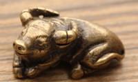 Wholesale circles car for sale - Group buy Pure copper Zodiac cattle pendant Brass solid bronze cattle key chain pendant car interior pendant copper ornaments pen holder