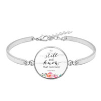 Wholesale god charms resale online - Christian Bible Verse Charm Bracelet Be Still and Know That I Am God Psalm Inspirational Quote Bracelet Faith Hope Gift