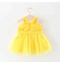 ingrosso abito blu angelo-Vestiti della neonata Cute Angel Wings Fluffy Tutu Dress Per NewBorn Girls Summer Princess Abiti da festa Kids Vest Clothes