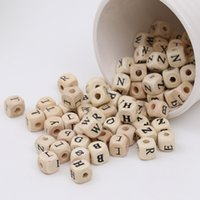 Wholesale Wood Beads For Kids - 100pcs lot 10mm Wood Alphabet Beads Lettere Alfabeto Perle En Bois Letras Madera Natural Cube Beads For Kids DIY Fashion Jewelry Crafts