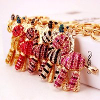 Wholesale horse gifts for girls - Lovely Styles Animal Crystal Rhinestone Keyrings Keychains Bag DIY Pendants Zebra Horse Key Chains Rings for Women Gift D990Q