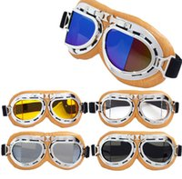 Wholesale leather motorcycle goggles - Goggles Eyewear Aviator Pilot Cruiser Scooter Clear Elastic Belt Silver Yellow Leather Anti UV Outdoor Motorcycle Glasses GGA276