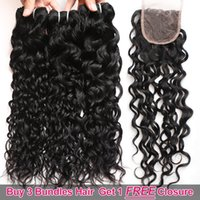 Wholesale hair weave weft sale for sale - Ishow Hair Big Sales Promotion Buy Bundles Get A Free Closure Brazilian Water Wave Unprocessed Peruvian Human Hair Free Part