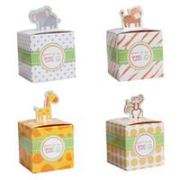 macaco brinquedos de boxe venda por atacado-20 pcs Caixa de Doces de Aniversário Do Bebê Animal Dos Desenhos Animados Do Chuveiro de Bebê Saco de Doces Caixa De Chocolate Elefante Macaco Tigre Girafa Brinquedos