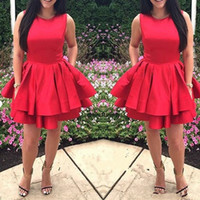 Wholesale classic tires - Newest Scoop Neck Red Homecoming Dresses Cute Satin Tired Mini Short Zipper Back 8th Grade Graduation Party Dresses Vestido