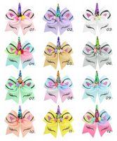 band flip toptan satış-Sıcak satış 7 Inç 12 Renkler Çocuk Unicorn Bronzlaşmaya Çevirme Pul Kırlangıç Yay Saç Bantları Kızlar Saç Klipler Bebek Saç Aksesuarı