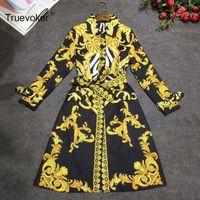 taillenmantel krawatte großhandel-Truevoker Herbst Designer Trenchcoat Damen Hochwertiger, eleganter, vollärmliger Luxusgoldbarock bedruckter, gebundener Taillenmantel