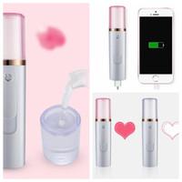 Wholesale beauty care instruments - Mini Portable Facial Steamer Power Bank Rechargeable USB Cool Face Spray Nano Mist Sprayer Moisturizing Skin Care Beauty Instrument KKA5561