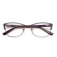 lila brillen großhandel-Metallbrillen-Rahmen-Frauen-purpurroter Retro- freier Weinlese-Katzen-Augen-Gläser des grauen Augen-Graues para mul # TWM7553C1