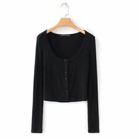 Wholesale white long sleeved blouse women online - MSSugar Autumn New Basic Thread Pure Color Blouses European and American women s uniform single breasted skinny long sleeved T shirt