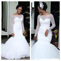 uzun beyaz kilise elbiseleri toptan satış-Büyüleyici Tül Beyaz Mermaid Gelinlik Scoop Uzun Kollu Artı Boyutu Ülke Afraic Gelin Kıyafeti Tren Kilisesi Gelin Elbise Özel