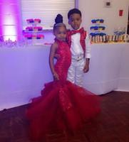 kırmızı payet çiçek kız elbisesi toptan satış-Kırmızı sequins çocuk gelinlik modelleri 2018 ucuz artı boyutu çiçek kız elbise kız pageant elbise