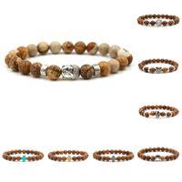 Wholesale wooden thanksgiving - Buddha head bead bracelet Mara prayer beads natural wooden bead bracelets men's bracelets