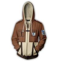 shingeki kyojin sweatshirt toptan satış-Titan Hoodie Ceket Shingeki hiçbir Kyojin Legion Hoodie Ceket Tişörtü 3D Hoodies Kazaklar Kabanlar Hip Hop
