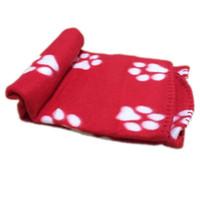 mantas huellas de la pata al por mayor-60x70 cm mascota perro gato cama mantas Cute Floral Pet Sleep Pata caliente Imprimir Perro Gato Cachorro Fleece Manta Suave Camas estera