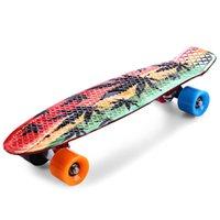 kayan tahta kaykay toptan satış-22 Inç Grafiti Maple Leaf Maple Leaf Retro Kaykay Longboard Paten Kurulu Mini Cruiser Uzun Kurulu Skatecycle Için Çocuk