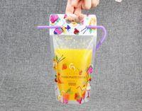 ingrosso imballaggio per cannucce-50pcs 450-500ml Sacchetto di succo di bevande stampate sacchetto di imballaggio di plastica glassato con 50pcs insieme di paglia