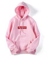 pink clothing al por mayor-Nuevos hombres mujeres Mangas largas Lana rosa Bordado caja logotipos Sudaderas con capucha Amantes de los jóvenes informal jersey Wineter para ropa de hombre