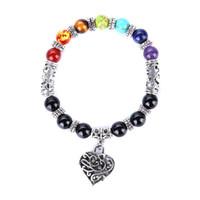 runde schwarze perlenschnur großhandel-Druzy 6PC Natural Black Onxy Runde Perlen String Herz Anhänger Armband Yoga Buddhismus Sieben Chakra Armbänder für Frauen