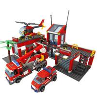 plastik eğitici oyuncakları bloke eder toptan satış-Yapı Taşları Yangın İstasyonu Modeli Blokları Uyumlu Legoe Şehir Tuğla Blok ABS Plastik Eğitici Oyuncaklar Çocuklar Için