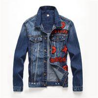 Wholesale Badge Embroidery Designs - New Arrive Branded Hip-hop Punk Denim Jacket Men's Trendy Badge Single-Breasted Denim Jacket Patch Designs Unique Applique Coat Streetweer