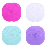 Wholesale Eco Friendly Makeup Brushes Wholesale - Foundation Makeup Brush Cleaner Pad Silicone Suction Cup Cosmetic Brushs Clean Mat Multi Color Hot Sale 2 5sh C R