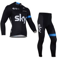 Wholesale Sky Jersey Bibs - SKY team Cycling long Sleeves jersey (bib) pants sets Spring And Autumn Racing Mountain Bike Cycling jersey Quick Dry Comfortable c1507