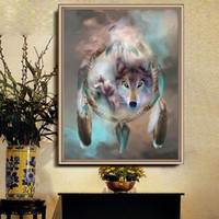 Wholesale Abstract Home Crafts - Embroidery Mosaic Cross Stitch Dreamcatcher Wolf Totem Pattern DIY 5D Diamond Painting For Home Wall Decor Crafts New 9cq B
