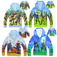 Wholesale kids character sweatshirts - 4 Colors Kids Fortnite Casual Sweatshirt Baby Zipper Spring Fall Hoodies Pullover Long Sleeve Blouse Fortnite Sweatshirts CCA9898 30pcs
