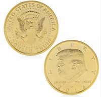 Wholesale coin online - Gold Silver Plated President Donald Trump In God We Trust Commemorative Coin Token Gift