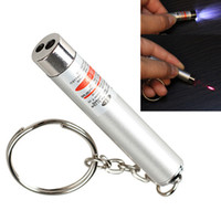 venda de luzes laser venda por atacado-Venda quente 350 pçs / lote # novo 2 em 1 branco led luz e ponteiro laser vermelho caneta com lanterna chaveiro