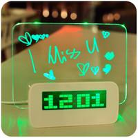 floresan mesaj panosu saati toptan satış-Mavi Yeşil LED Floresan Dijital Çalar Saat Elektronik Mesaj Panosu ile USB 4 Port Hub Için Ücretsiz Kargo