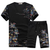 Wholesale chinese neck suits for men resale online - 2018 New Fashion Summer Short Sets Men Casual Coconut Island Printing Suits For Men Chinese Style Suit Sets T Shirt Pants XL